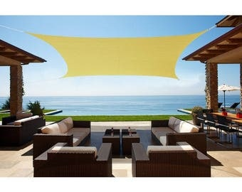 Custom Sized  Waterproof Woven Sun Shade Sail in Vibrant Colors - Desert Sand