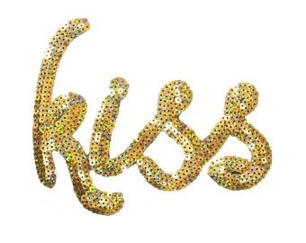 Free Shipping! Gold Kiss Sequins Iron-On Patch, Sequins Applique