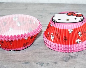 Hello Kitty Cup Cake Liner. Cartoon Birthday cupcake liner. 50 Cups
