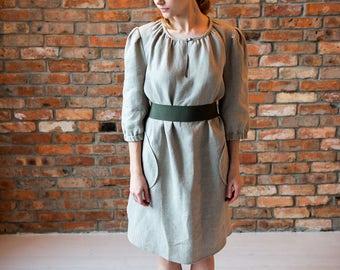 Brown linen dress, Light natural linen dress, Oversized, Linen dress, Long dress, Summer dress women, Boho dress