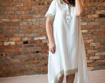 White linen dress,  V-neck tunic dress,  French dress, boho Romantic dress, Long dress, Oversized, white lace dress, Pure linen tunic