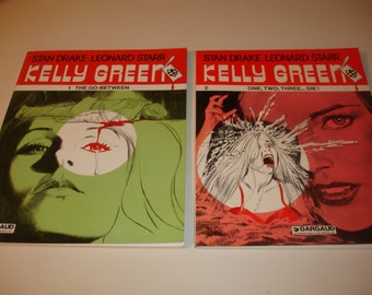 KELLY-GREEN #'s 1-The-Go-Between & #2-One-Two-Three-Die-Stan-Drake-Leonard-Starr
