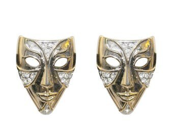 Earrings Clips VINTAGE - mask Carnival Theatre