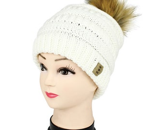 Women Beanie Warm Winter Hat slouchy pompom. Thick Winter Beanie. Six colors with Fake Fur and Faux Pompom. Soft Warm Faux Fur Lining