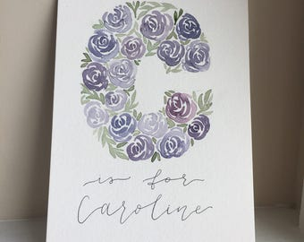 Letter Floral Watercolor with Name - Custom Made!