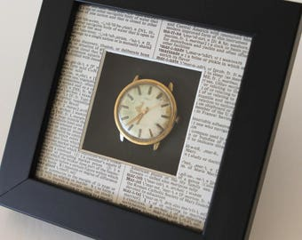 Small shadow box, vintage watch, found objects, vintage dictionary pages, repurposed art, up-cycled art, modern retro, 3 dimensional art
