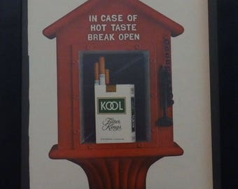 Kool Cigarettes, Vintage Ad, Retro Magazine Ad, Mad Man Style, Man Cave Decor, 1960 Advertisement