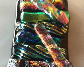 Wearable art fused dichroic glass rainbow pendant. #12