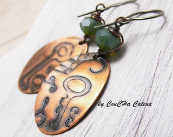 Fairytale earrings copper moss green embossed oval 925 earring hooks