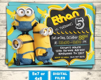 Minions invitation, minion birthday invitations, minions party invite, minions birthday, minions printable, minions digital, banana minions.