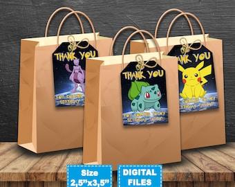 Pokemon thank you tags, pokemon tags, pokemon birthday, pokemon tag gift, pokemon tag printable, pokemon favor tags, pokemon gift tags