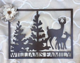 Wilderness Family Sign, Wilderness Family Sign, Deer and Trees Sign