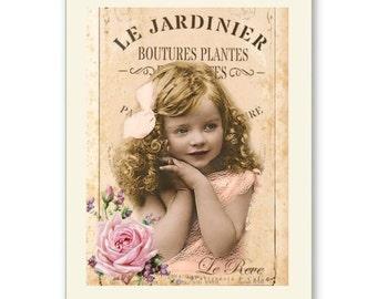 Personalised Handmade Greetings Card ~ Vintage Postcard of A Child  #2
