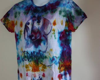 Tie-dye t-shirt with custom pet portrait