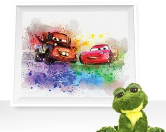 70%OFF Cars print, cars wall decor, Cars printable, McQueen print, McQueen watercolor, Mater art print, Mater printable, Mater watercolor