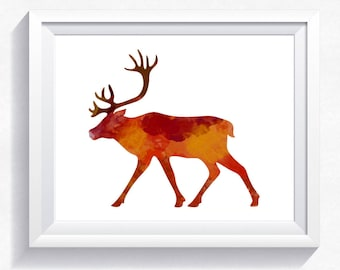CARIBOU print, deer print, watercolor print, watercolor deer, watercolor caribou, deer wall art, deer painting, deer printable