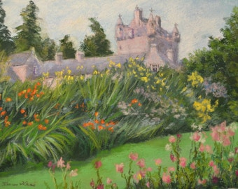 SCOTLAND CASTLE GARDENS Landscape in Original 8.5 x 11.5 Pastel Painting by Sharon Weiss