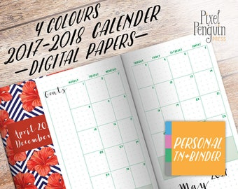 Monthly Planner Pages 2017 2018, Traveler Notebook Insert Printable, Personal Size, Bullet Journal Insert, Midori Refill, Student Planner