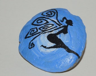 Blue Spiral Faerie painted rock