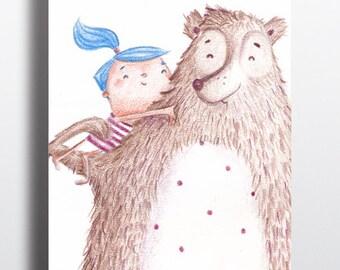 Nursery art, Art poster, Girl Nursery art, Childrens room art, Art print, Girl and Bear cuddle, Poster kinderkamer
