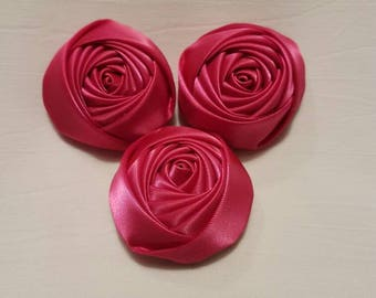 Rolled Flowers, Satin Rosettes in Fuchsia
