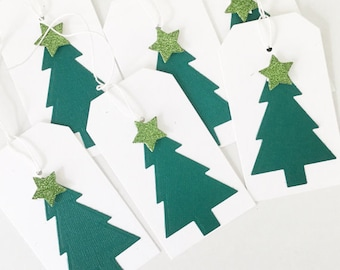 Christmas Tree Gift Wrapping Tags, Christmas Gift Label, Present Tags, Holiday Swing Tags, Party Bag Tags, Xmas Green, Christmas in July
