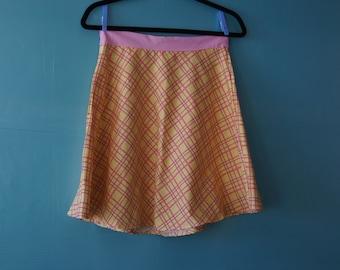 Girls a-line skirt, pink and yellow,plaid skirt, button detail,cotton skirt, long skirt, spring style, cotton skirt, girls size 14