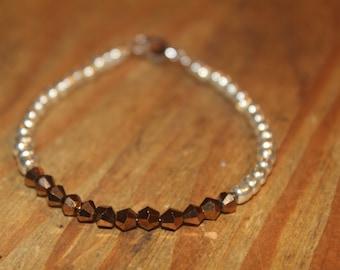 Silver & Copper Beaded Bracelet