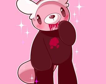 Sale - Gloomy Bewear Acrylic Charm - 1inch - Cute, Pokemon, Pink