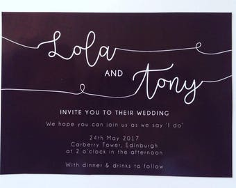Minimalist black and white wedding invitations wedding stationery