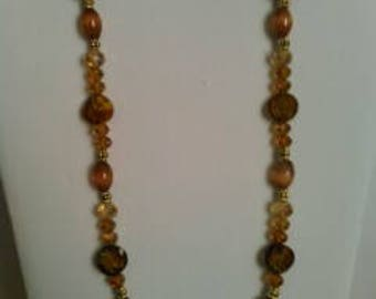 Brown & gold glass beaded necklace and earring set