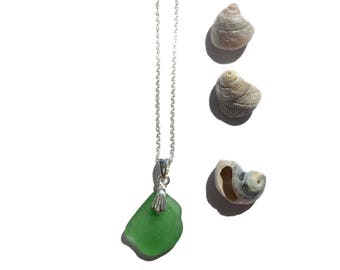 Green Seaglass Necklace - Falmouth Harbour- Sterling Silver