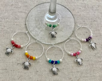 Sea Turtle Wine Charms