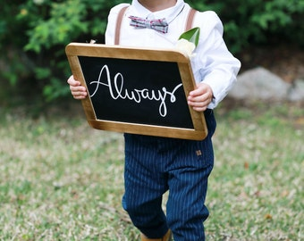 """Flower girl or boy blackboard sign w/ wooden frame, for wedding harry potter quote, Snape """"always"""" """"after all this time"""""""