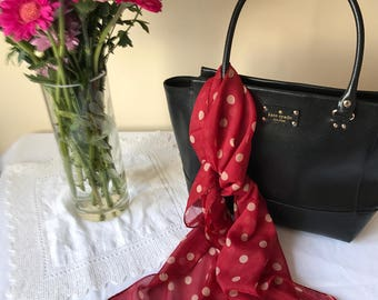 Chiffon - Women's Scarf - Red - Spring/Summer - Polka Dots - Spotty - Cream - Love - Dots - Fashion - Famous - Gift - Elegant/Classic