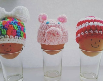 egg cosy, crochet egg cosy,fun gift, pig, rainbow, football colours, team colours, stylecraft, frog, cupcake, fun gift, easter, easter egg,