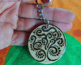 Wooden Keychain with pyrography tree