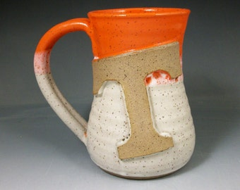 Wheel Thrown Pottery Power T Mug, Tennessee, orange and white limited Edition
