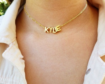 Name Choker Initial Choker Customized Choker Capital Letter Necklace Gold Choker Necklace Personalized Gothic Choker Custom Choker Necklace