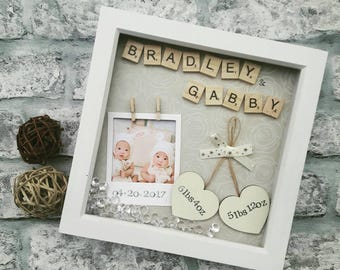 Twin baby gift etsy new baby frame newborn gift gift for twins present for new baby negle Image collections