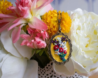 Rose and Daisy - Hand Embroidered Necklace, red, yellow, purple, red