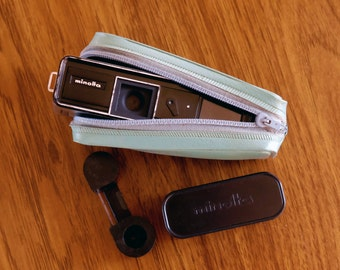 Working Vintage Minolta 16 model P Subminiature Spy Camera with Camera Case Film Case and Used Film