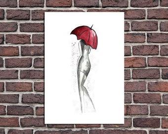 Home decor painting . jpg printable digital poster instant download,woman ,umbrella, decoration ,watercolor