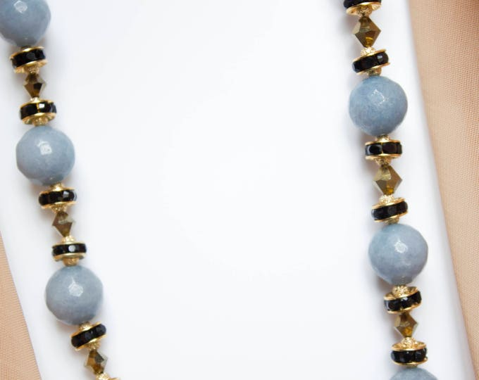 Faceted Blue Jade Beaded Necklace