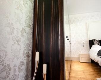 Luxury wardrobe end panel, Wenge and Macassar Ebony with Polished Nickel Stringing