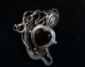 Vintage Heart Obsidian and Silver Pendant Necklace 2147