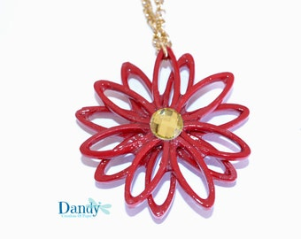 Red Gerbera Flower charm necklace
