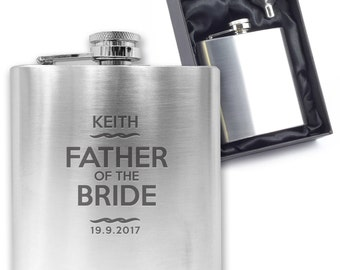 Personalised engraved FATHER OF the BRIDE hip flask wedding thank you gift idea, stainless steel presentation box - TT4