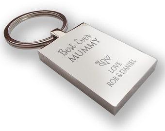 Personalised engraved Best Ever MUMMY keyring gift, chunky rectangle keyring - BE9