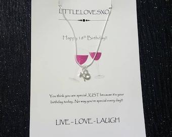 18th birthday gift, 18th birthday necklace, silver plated necklace, gifts for her, gifts for teens, birthday gifts for teens